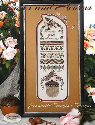 Roses and Acorns sampler by Jeannette Douglas Designs