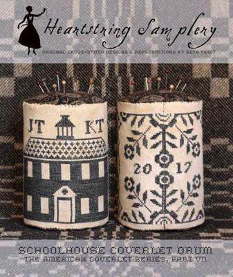 Heartstring Samplery Schoolhouse Coverlet Pin Drum