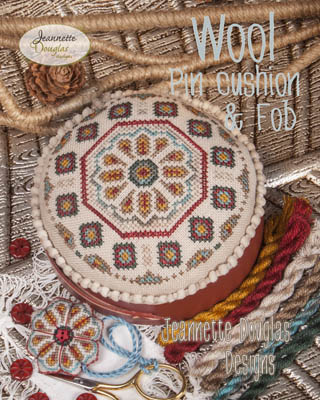 Wool Pincushion & Fob by Jeannette Douglas Designs