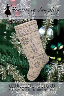 Heartstring Samplery Winter Snow Stocking Ornament