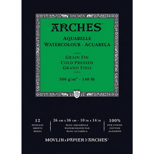 Arches Watercolor Cold Pressed Paper Pad 10X14 12 Sheets