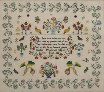 Queenstown Sampler Designs Emeline Vanderbelt 1828