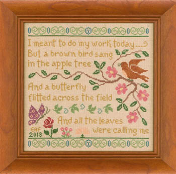 Elizabeth's Designs Needlework Brown Bird Sampler