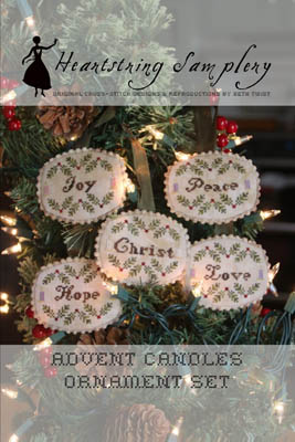 Advent Candles Ornament Set by Heartstring Samplery