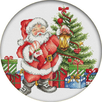Les Petites Croix Lucie Christmas Gifts Magnet (Santaholding lantern & stocking)