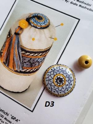 Giulia Punti Antici  Majolica bead for D3 Deruta pincushion