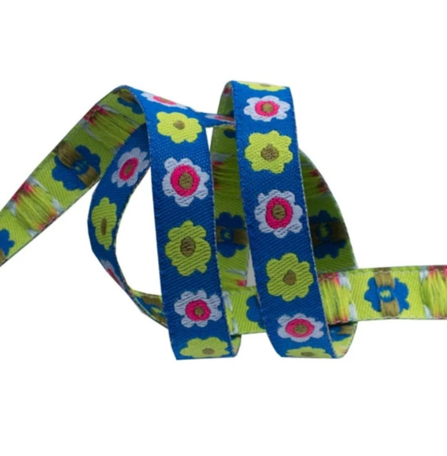 "Narrow Blue Flowers row - 3/8"" - Kaffe Fassett"