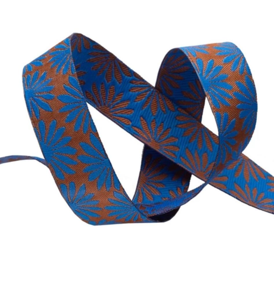 """Gerbera Blue on Bronze - 7/8"""" - Kaffe Fassett"""