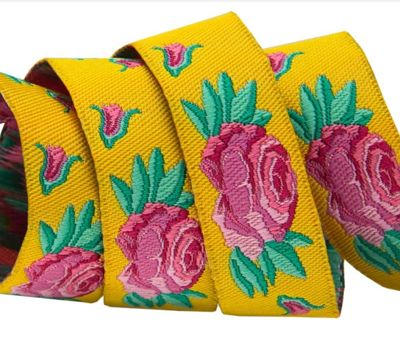 Spanish Rose on Yellow by Kaffe Fassett
