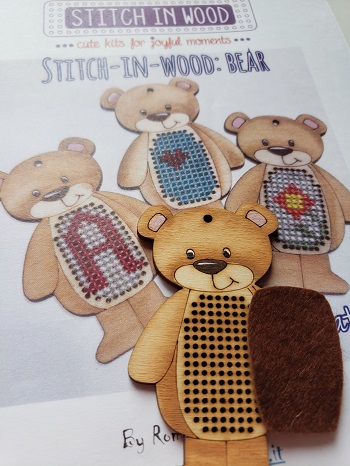 Stitch in wood Bear by Romy's Creations