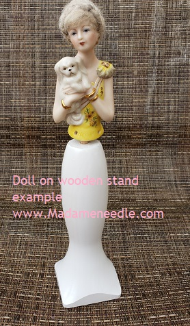Wooden white doll stand
