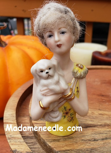 PORCELAIN HALF DOLL Norma with dog