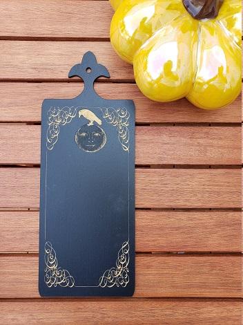 Fripperies Halloween Raven horn book- black