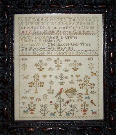 Shakespeare's Peddler Spring Sampler - Ann Hobbs 1834