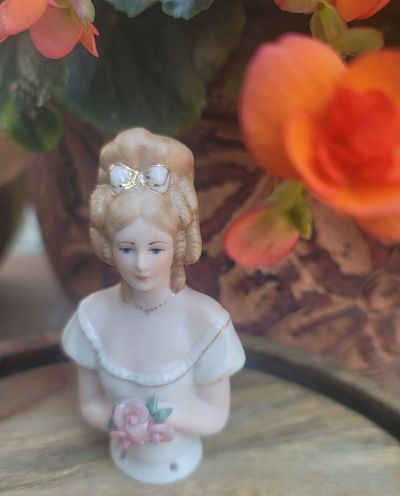 PORCELAINE HALF DOLL-ANDREA WITH FLOWERS