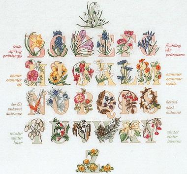 Floral alphabet sampler by Thea Gouverneur
