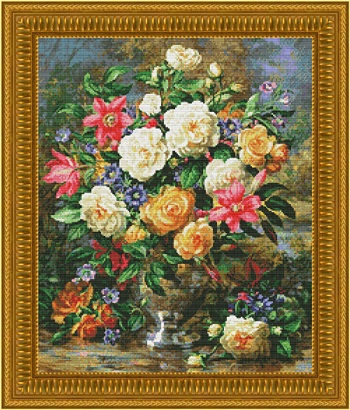 Homage to the Queen Mother Floral-2037- cross-stitch chart by Kustom Krafts
