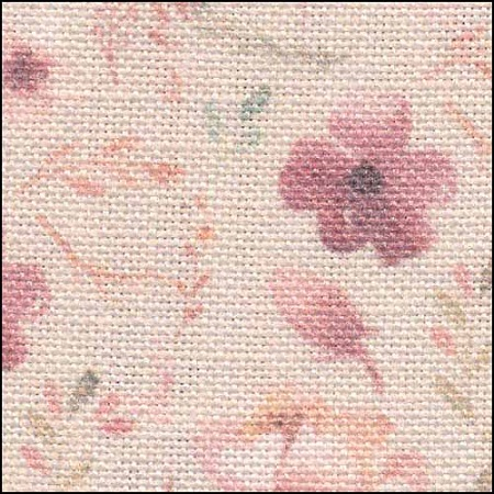 Fabric Flair Blooms on Pink 28ct Linen,17x19