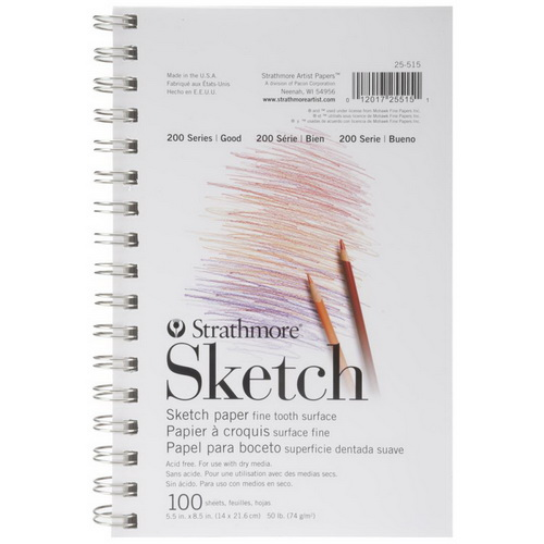 "Strathmore Sketch Spiral Paper Pad 5.5""X8.5"" 100 Sheets"