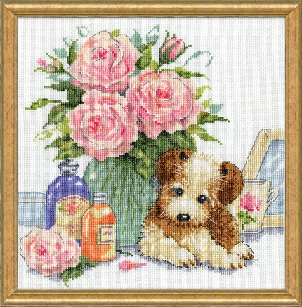 Puppy with roses,3264,Design Works