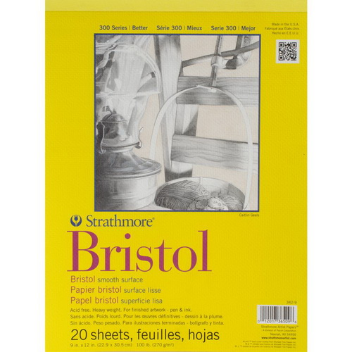 Strathmore Bristol Smooth Paper Pad 9X12 20 Sheets