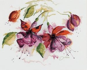 Fucsia in watercolor by Lanarte