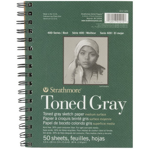 Strathmore Toned Sketch Spiral Paper Pad 5.5X8.5 Gray 50 Sheets