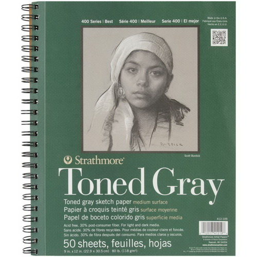 Strathmore Toned Sketch Spiral Paper Pad 9X12 Gray 50 Sheets