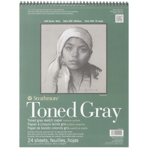 Strathmore Toned Sketch Spiral Pad 11X14 Gray 24 Sheets