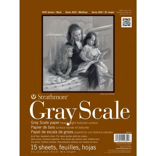 Strathmore Assorted Tints Gray Scale Paper Pad 9X12 15 Sheets