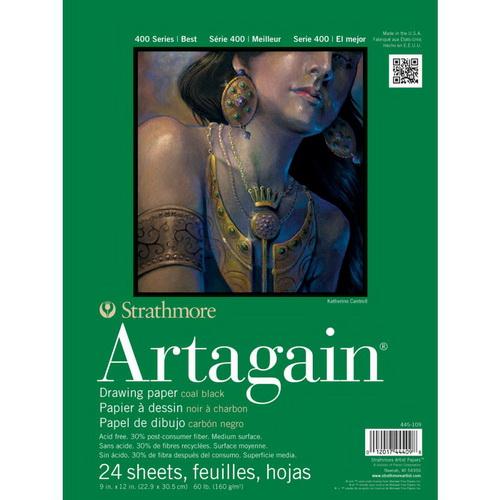 Strathmore Black Artagain Paper Pad 9X12 24 Sheets