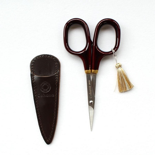 Small scissors with gold lacquer art (Tamenuri-painting / Brown)