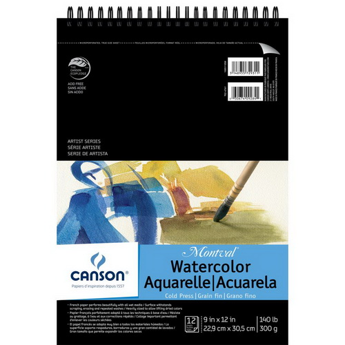 Canson Montval Spiral Watercolor Pad 9X12 10 Sheets