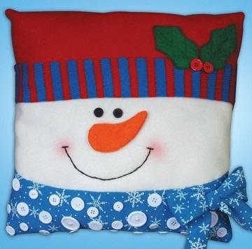 Snowman button pillow by Design Works