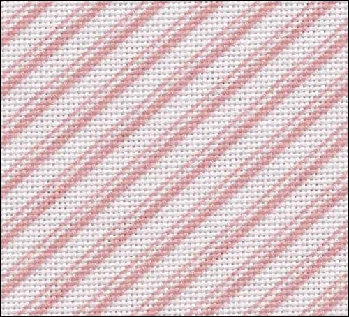 Fabric Flair Pink Peppermint Candy Stripe 28ct Cotton/Rayon Evenweave