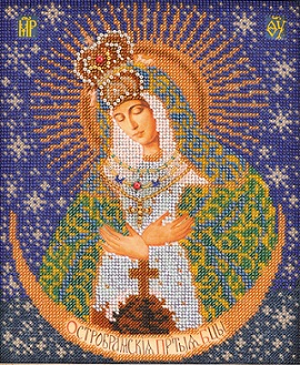 "Beaded Icon ""Ostrabramskaya Bogoroditsa"" by Kroshe"