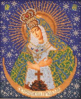 Beaded Icon Ostrabramskaya Bogoroditsa by Kroshe