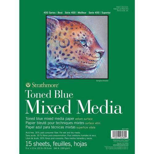 Strathmore 400 Series Mixed Media Pad - Tone Blue 9X12 15 Sheets