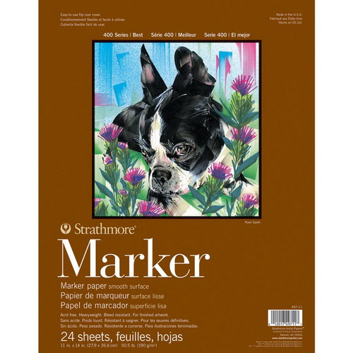 Strathmore Marker Paper Pad 11X14 50lb Smooth 24 Sheets