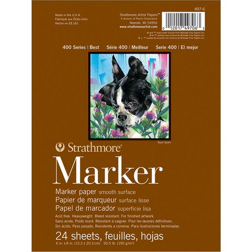 Strathmore Marker Paper Pad 6X8 50lb Smooth 24 Sheets