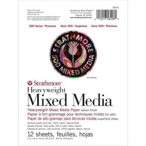 Strathmore 500 Series Heavyweight Mixed Media Pad 6X8 12 Sheets