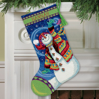Happy Snowman Stocking-70-09341- by Dimensions