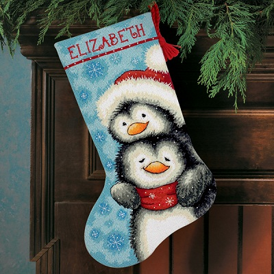 Hugging Penguins Stocking-71-09144- by Dimensions