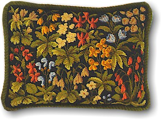 Eva Rosenstand Floral pillow on black canvas