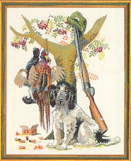Dog with Pheasants by Eva Rosenstand