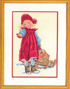 Girl with sled by Eva Rosenstand