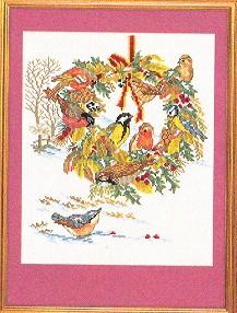 Birds & Fall Wreath by Eva Rosenstand