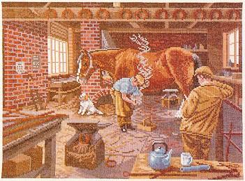 Horse shoeing scene by Eva Rosenstand