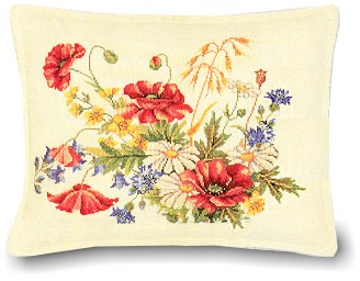 Floral pillow (poppies) by Eva Rosenstand
