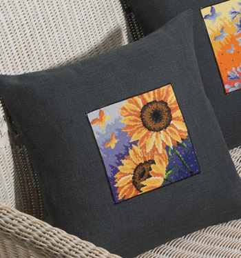 Sunflower and butterfly pillow by Permin